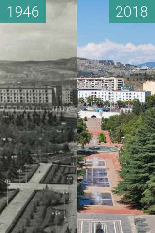 Before-and-after picture of Vake Park as seen from WWII Memorial between 1946 and 2018-Sep-08