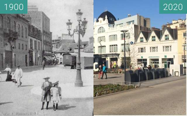 Before-and-after picture of Saint-Brieuc - Place Duguesclin between 1900 and 2020-Nov-06