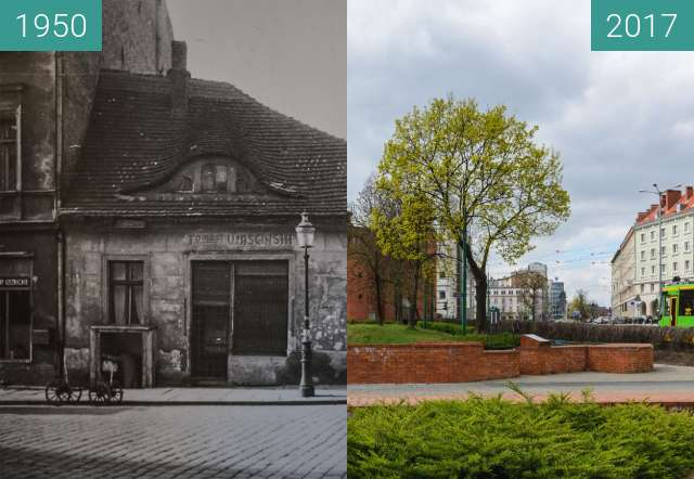 Before-and-after picture of Ulica Wroniecka between 1950-Sep-29 and 2017-Mar-29