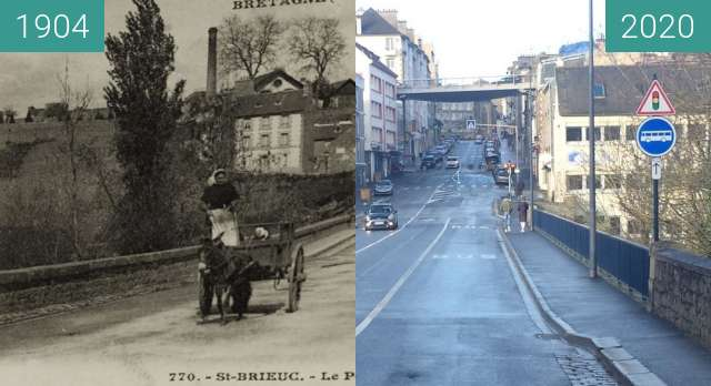 Before-and-after picture of Saint-Brieuc- Rue de Gouëdic between 1904 and 2020-Dec-19
