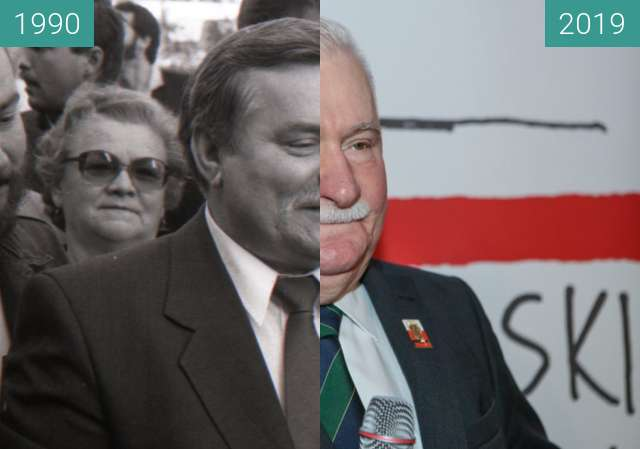 Before-and-after picture of Lech Wałęsa over 30 yrs (2°Michal Trojanowski) between 1990-Oct-17 and 10/2019