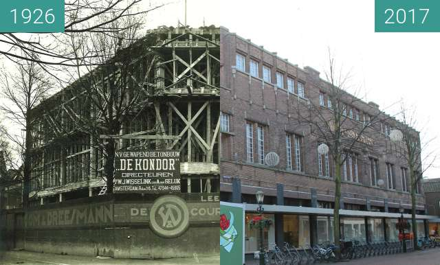 Before-and-after picture of V&D Alkmaar being build between 1926 and 2017-Feb-21