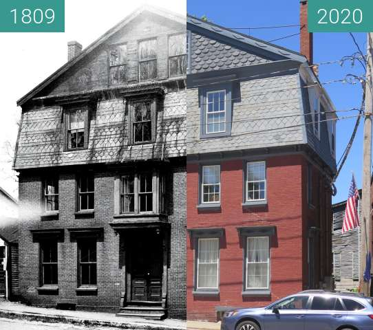 Before-and-after picture of The Samuel Peck House - Belfast, Maine between 1809 and 2020-Jul-16
