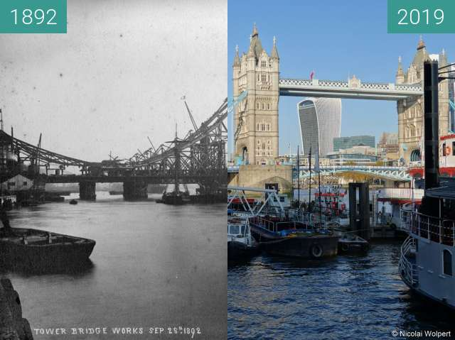 Before-and-after picture of Tower Bridge during construction between 1892-Sep-28 and 2019-Nov-10