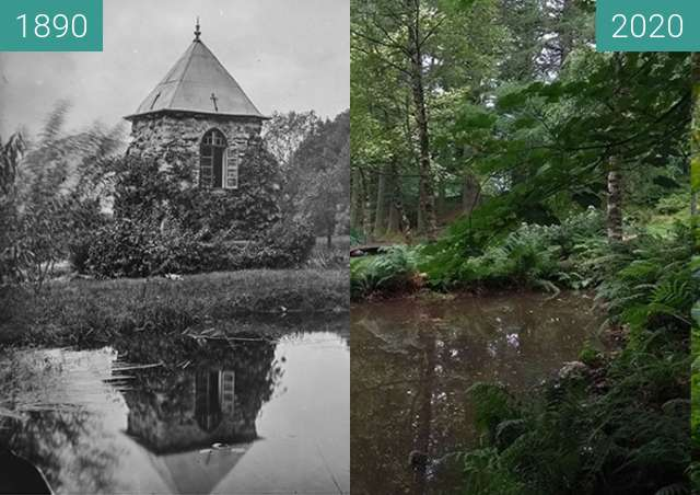 Before-and-after picture of Tårn sett fra oven etter restaurering between 1890 and 2020