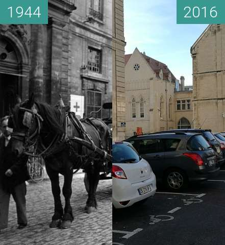Before-and-after picture of Horses bring food to civilians hidden in the Abbey between 1944-Jul-10 and 2016-Oct-30