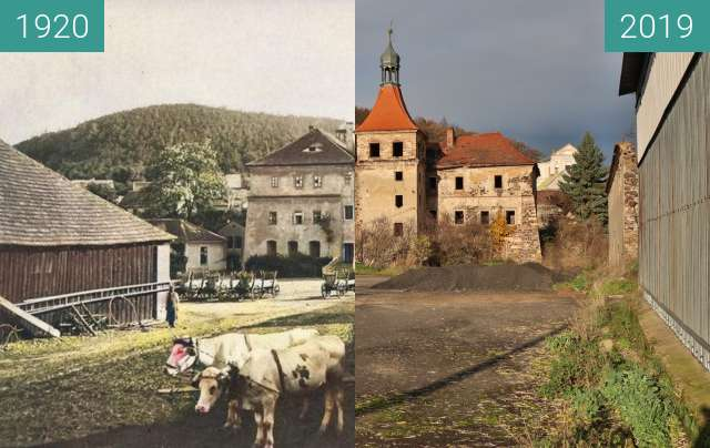 Before-and-after picture of Zámek Mirošovice between 1920 and 2019-Nov-16