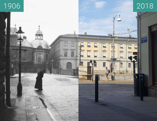 Before-and-after picture of German Church and Gothenburg City Hall between 1906 and 2018-Aug-01