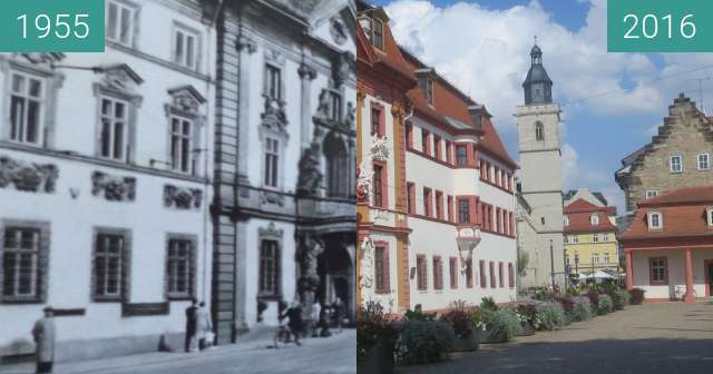 Before-and-after picture of Thüringer Staatskanzlei between 1955 and 2016-Aug-19