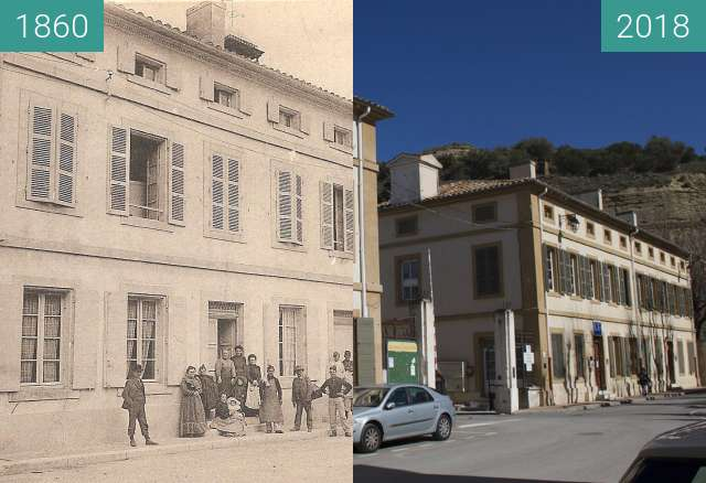 Before-and-after picture of Poudrerie Saint Chamas between 1860 and 03/2018