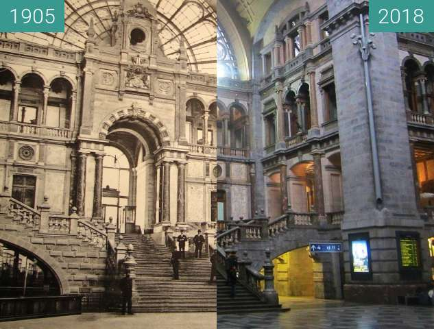 Before-and-after picture of Antwerpen railway station between 1905 and 2018-Apr-02