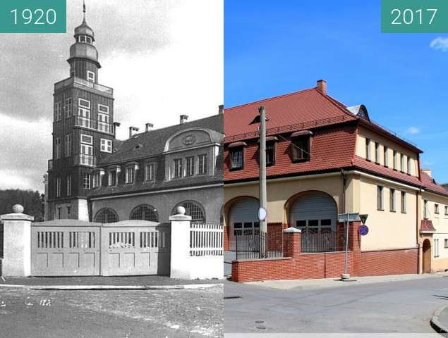 Before-and-after picture of Firefighters Office in Klodzko between 1920 and 2017