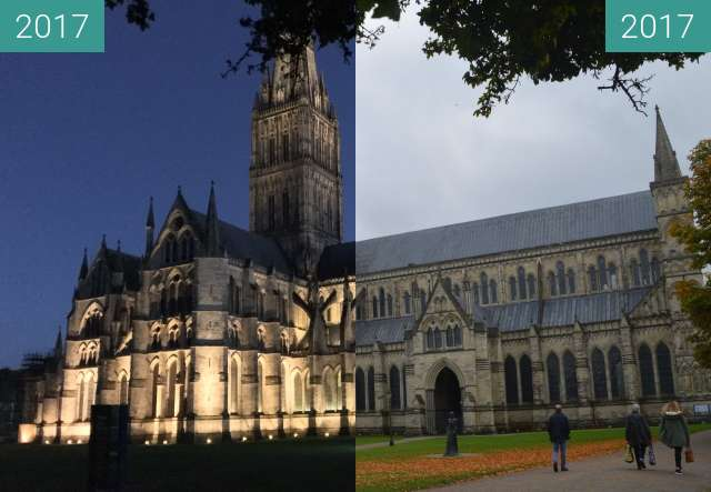 Before-and-after picture of Salisbury Cathedral by day and night between 2017-Oct-12 and 2017-Oct-13
