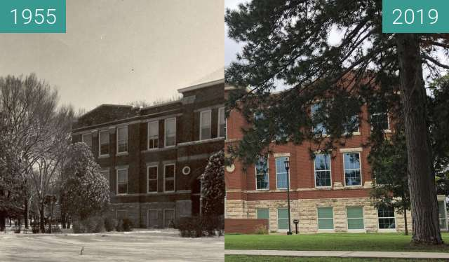 Before-and-after picture of Central Hall between 1955 and 2019-Aug-23