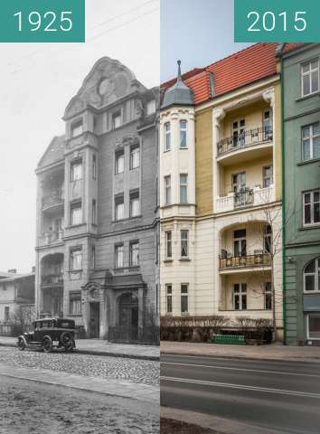 Before-and-after picture of Ulica Bukowska between 1925-Jun-02 and 2015-Jun-02