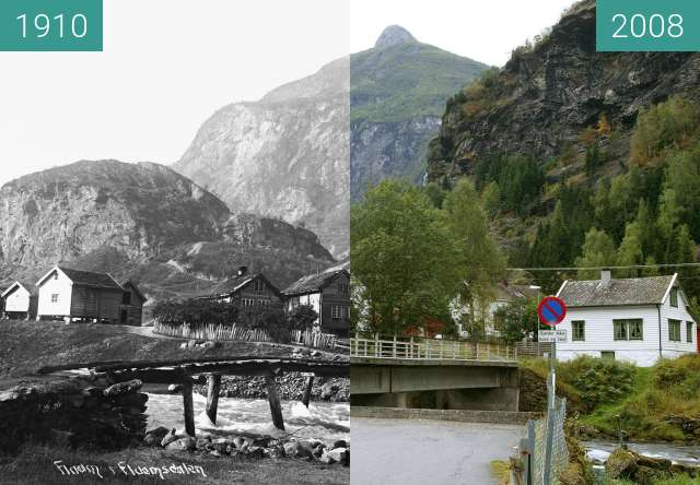Before-and-after picture of Flåmsdalen between 1910 and 2008