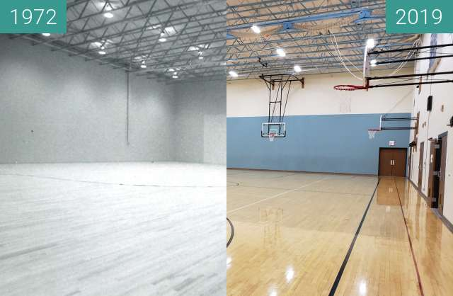 Before-and-after picture of John H. Uihlein Recreation Center at YBGR between 1972 and 2019-Mar-13