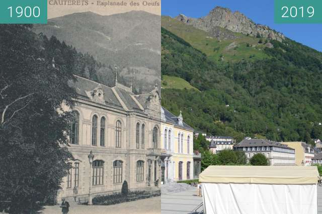 Before-and-after picture of Cauterets, Esplanade des oeufs between 1900 and 2019-Aug-24