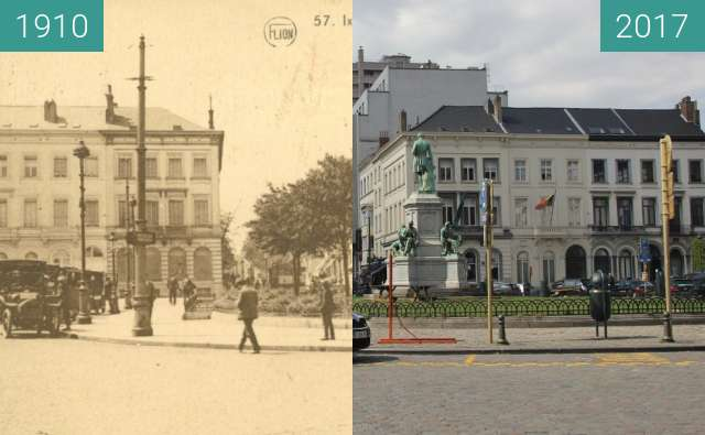Before-and-after picture of Place du Luxembourg, Brussels between 1910 and 2017-Apr-15