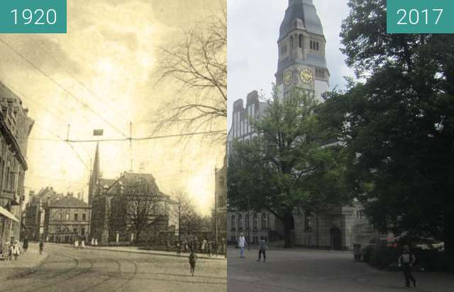Before-and-after picture of Rathaus Gladbeck between 1920 and 2017-Jul-11