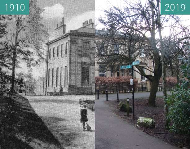 Before-and-after picture of Camphill House between 1910 and 2019-Mar-24