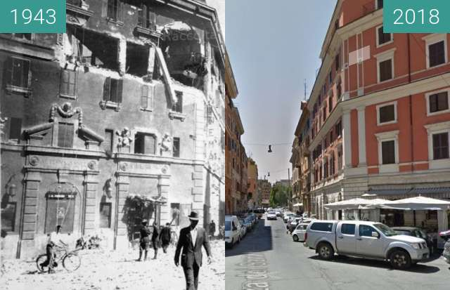Before-and-after picture of San Lorenzo, Rome between 07/1943 and 2018-Mar-29