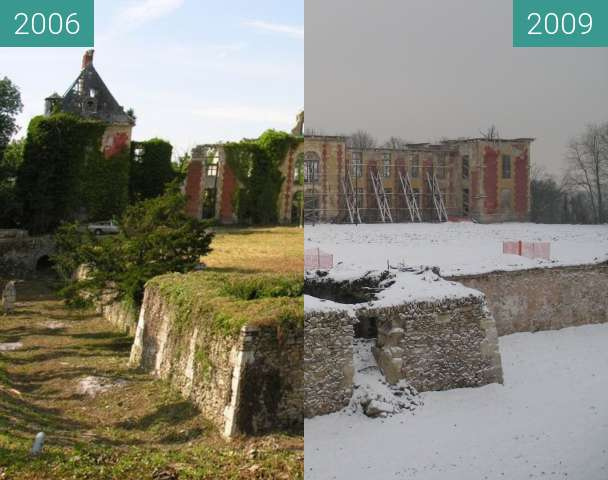 Before-and-after picture of Le chateau de Coupvray en hiver between 2006-Jun-24 and 2009-Dec-17