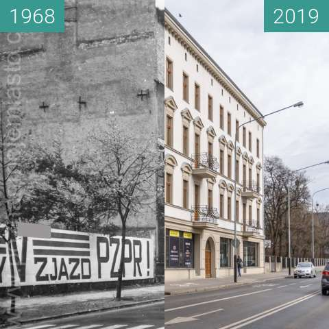 Before-and-after picture of Ulica Bukowska nr 21 between 1968 and 2019-Mar-07