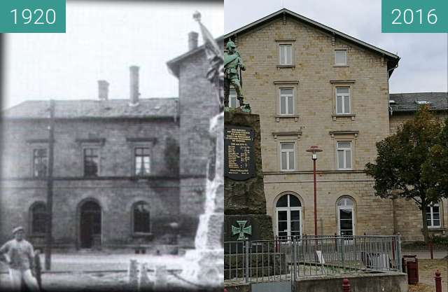 Vorher-Nachher-Bild von Kriegerdenkmal vor dem Monsheimer Bahnhof zwischen 1920 und 10.10.2016