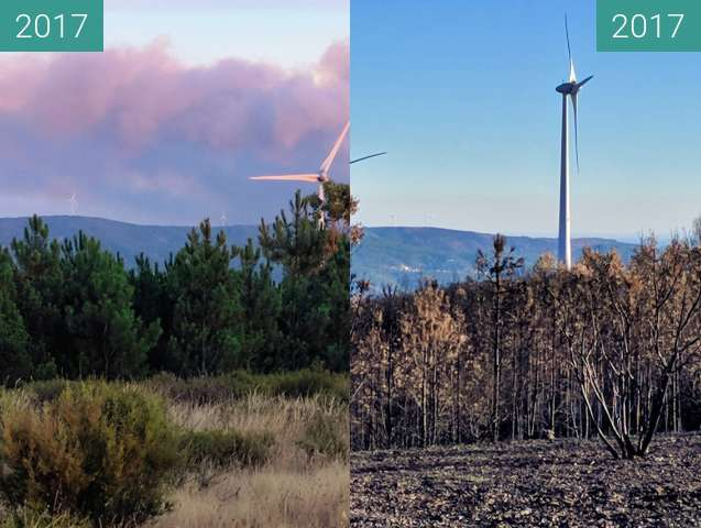 Before-and-after picture of Wind turbines before and after a wildfire between 2017-Aug-23 and 2017-Nov-19
