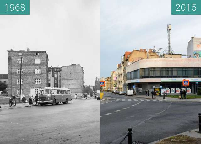 Before-and-after picture of Ulica Kościelna between 1968 and 2015