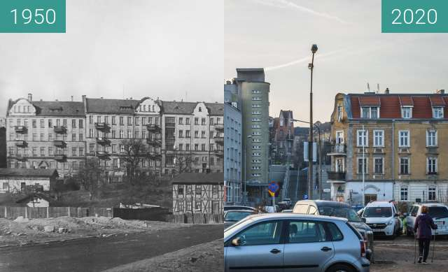Before-and-after picture of Ulica Spychalskiego between 1950 and 2020-Dec-20