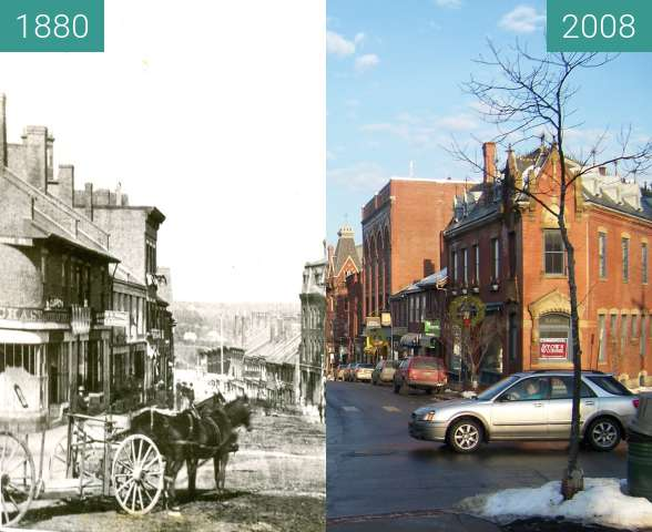 Before-and-after picture of Belfast, Maine: Down town, Maine Street between 1880 and 2008-Jan-08