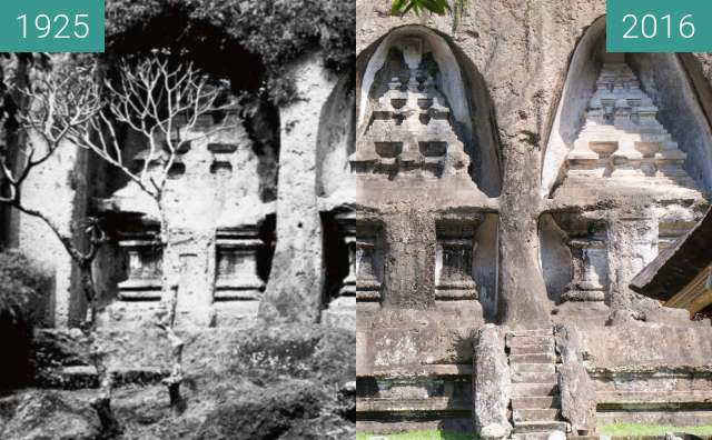 Before-and-after picture of Shrines on the West Side of Pura Gunung Kawi between 1925 and 2016-Jun-15