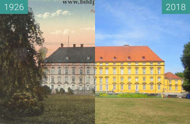 Before-and-after picture of Schloss Osnabrück between 1926 and 2018-Aug-04