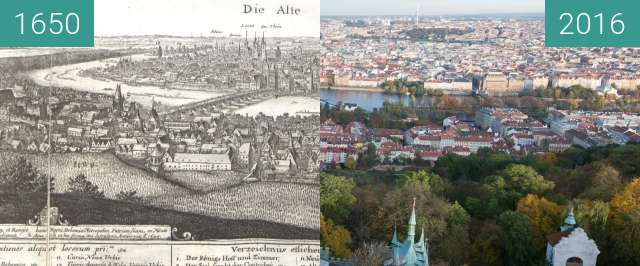 Before-and-after picture of Prague from Petřín Hill/Petřín Lookout Tower between 1650 and 2016-Nov-01