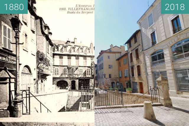 Before-and-after picture of Villefranche de rouergue between 1880 and 2018-Jul-07