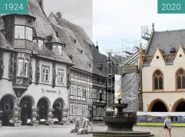 Before-and-after picture of Market Square, Goslar, Germany, 1924 vs. 2020 between 1924 and 2020-Aug-10