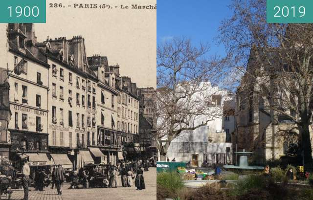 Before-and-after picture of Place St. Medard (1900) between 1900 and 2019-Feb-07