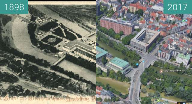 Before-and-after picture of Museumsinsel München between 1898 and 2017