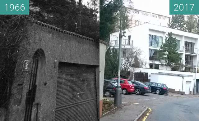 Before-and-after picture of Filmarska street between 1966 and 2017