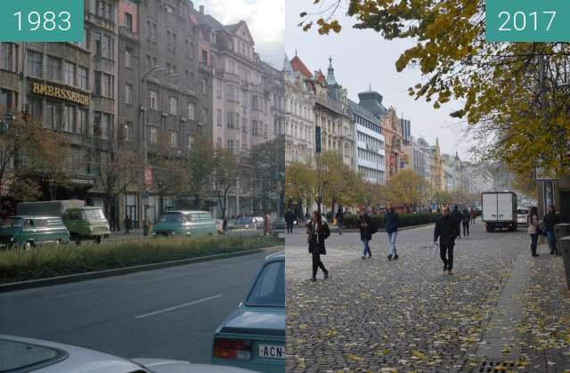 Before-and-after picture of Prag, Wenzelsplatz between 1983 and 2017-Nov-16