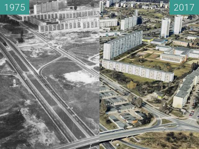 Before-and-after picture of Osiedle Czecha between 1975 and 2017
