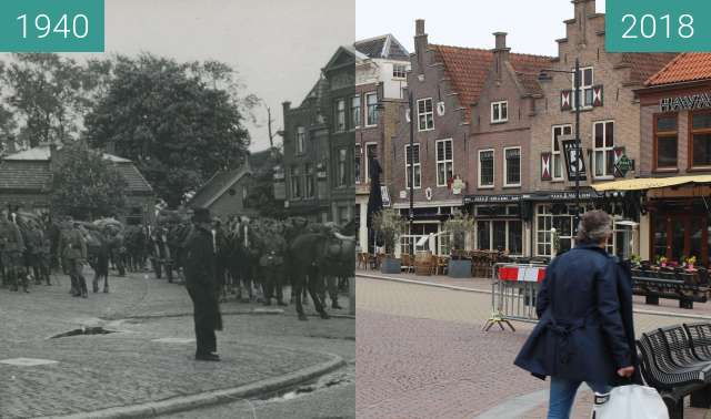 Before-and-after picture of Wehrmacht Soldiers In Schagen between 1940 and 2018-Apr-12