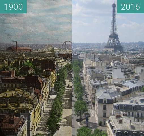 Before-and-after picture of Avenue d'Iéna/Champs de Mars between 1900 and 2016-Jun-25