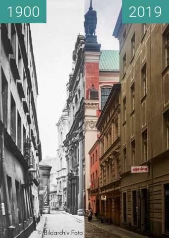 Before-and-after picture of Ulica Gołębia between 1900 and 2019-Jan-29