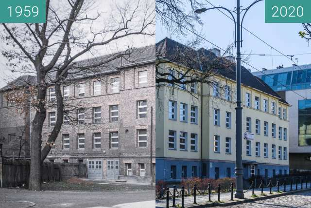 Before-and-after picture of Ulica Lewandowskiej between 1959 and 2020