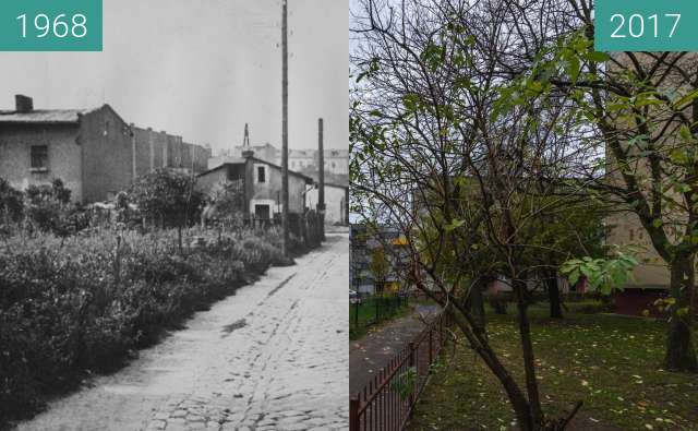Before-and-after picture of Ulica Kuźnicza w kierunku Kosynierskiej between 1968 and 2017