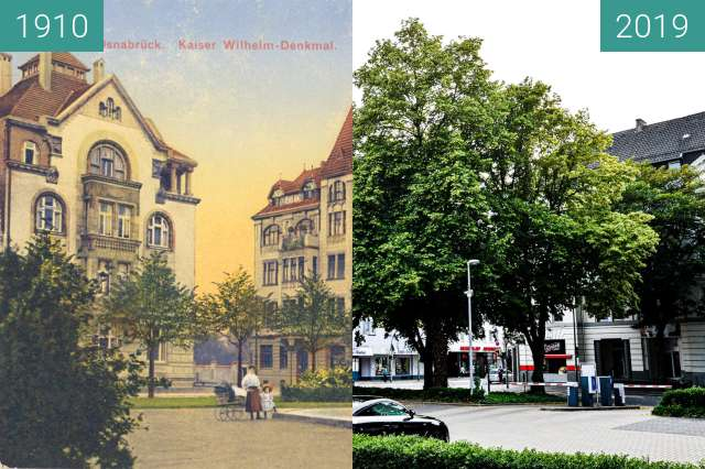 Before-and-after picture of Kaiser-Wilhelm Denkmal between 1910 and 2019-Jun-22