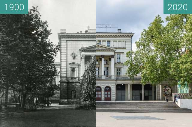 Before-and-after picture of Plac Wolności between 1900 and 2020-May-14